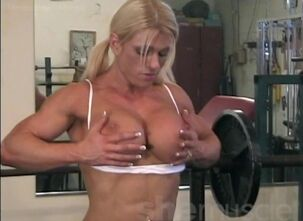 Blonde female bodybuilder